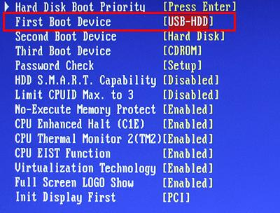 Пример настройки BIOS на компьютере