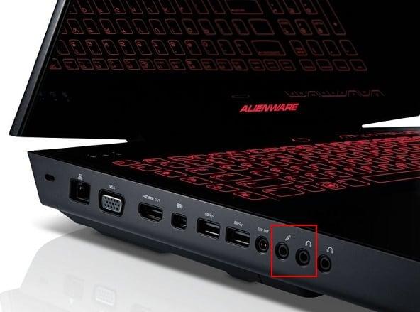 Разъёмы микрофона и наушников на ноутбуке