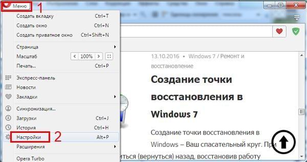 Пункт настроек браузера