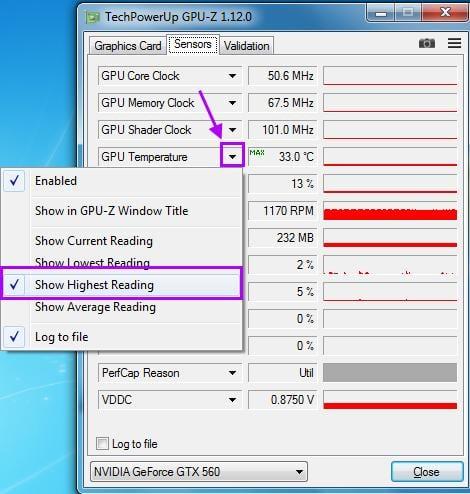 Настройка GPU-Z для отображения максимальной температуры видеокарты