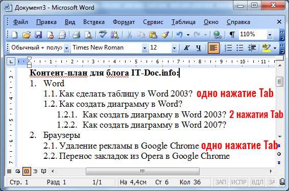 как создать многоуровневый список в Word 2003