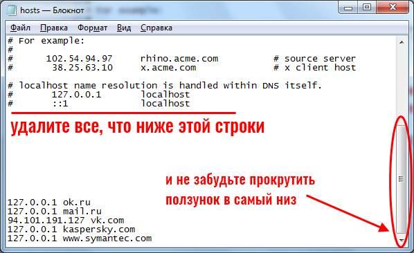 Вирусные адреса в файле hosts