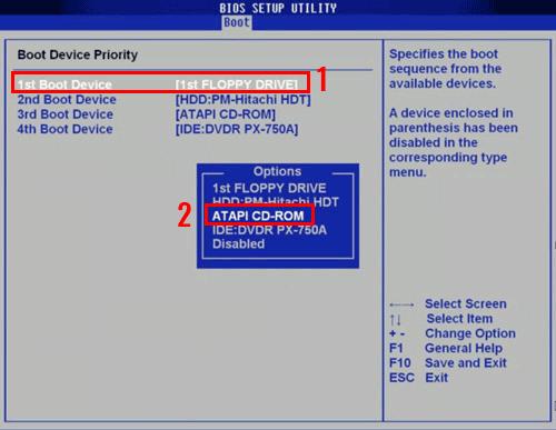 загрузка с диска на ноутбуке acer