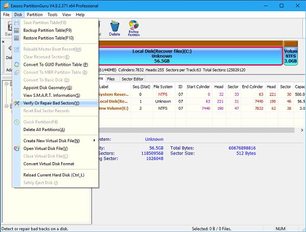 """Проверьте наличие на диске битых секторов с помощью """"Partition Guru"""""""