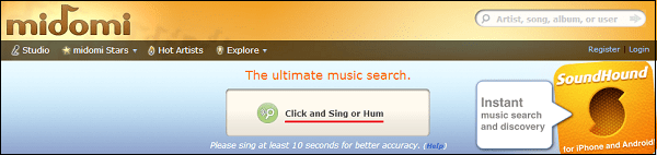 """Нажмите на кнопку """"Click and Sing or Hum"""" для начала процедуры распознавания музыки"""
