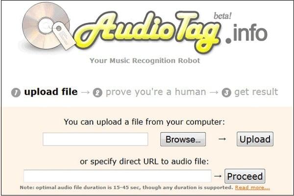 """Рабочее окно сервиса """"AudiotTag"""""""