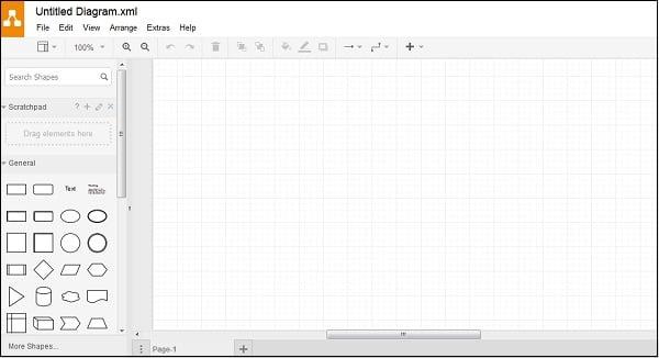"""Левая и центральная часть экрана редактирования сервиса """"draw.io"""""""