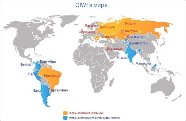 """Список стран, которые работают с """"Qiwi"""""""