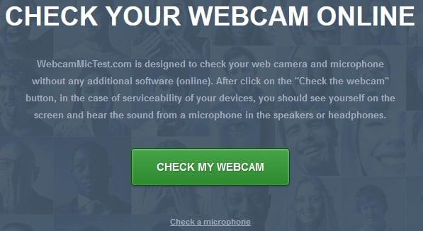 """Нажав на """"Check my webcam"""" вы получите возможность просмотреть изображение с вашей веб-камеры"""