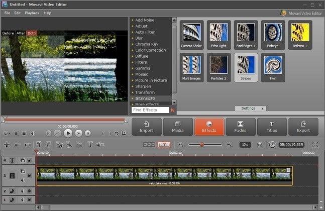 """Рабочий экран """"Movavi Video Editor"""""""