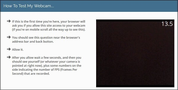 """Ресурс """"onlinemictest.com"""" позволяет видеть количество FPS с вашей веб-камеры"""