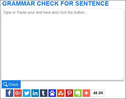 Рабочее окно сервиса grammarcheckforsentence.com