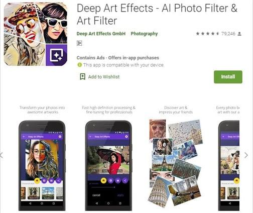 Приложение Deep Art Effects