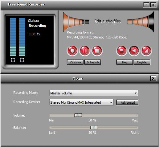 Интерфейс утилиты Free Sound Recorder