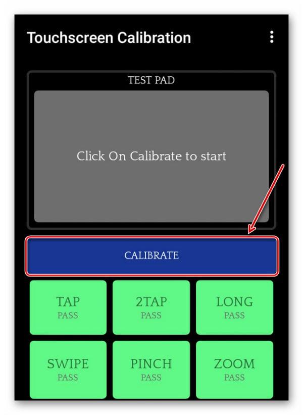 """Нажимаем на """"Calibrate"""", чтобы начать процесс калибровки тачскрина"""
