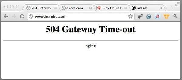 Ошибка 504 в окне браузера