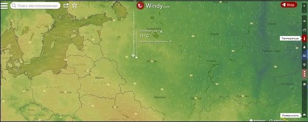 Для отображения точного градуса погоды в той или иной точке карты достаточно кликнуть на неё курсором мыши