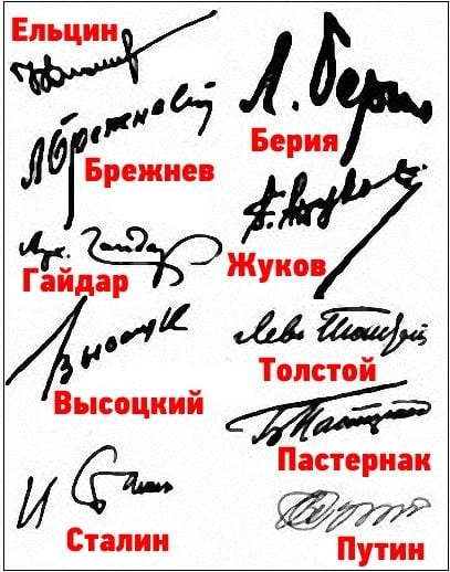 Подписи известных людей
