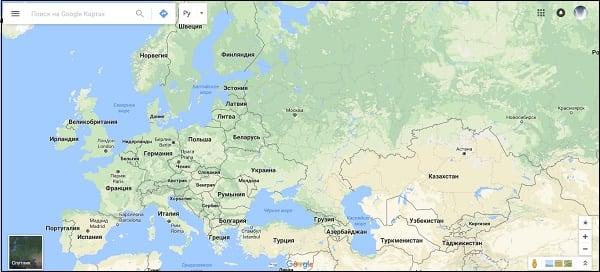Стартовый экран Гугл Мапс