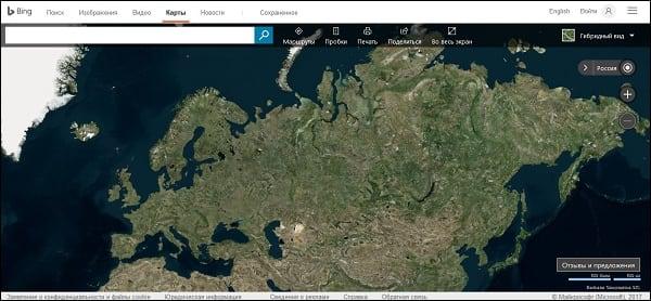 """Сервис """"Bing Maps"""" - один из наиболее популярных картографических сервисов в США"""