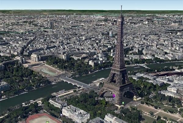 Париж в 3Д на Гугл Мапс