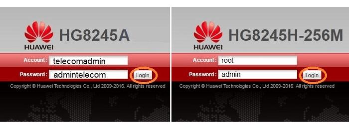 Ввод пароля и логина на модели Huawei