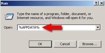 Введите %appdata% и нажмите ввод