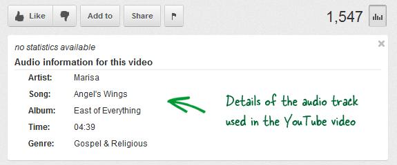 Находим информацию об аудио под видеороликом