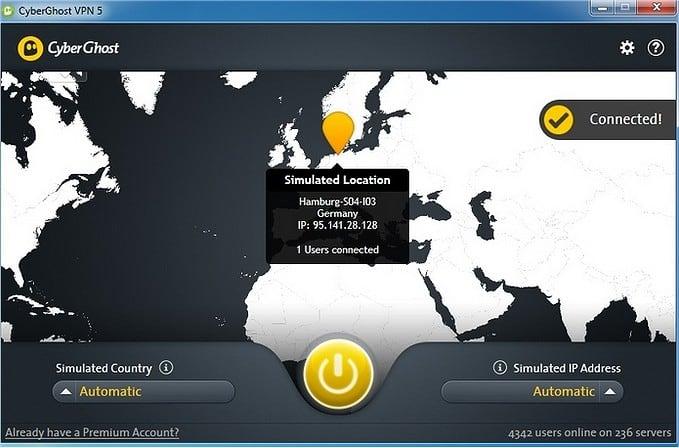 Рабочее окно программы CyberGhost VPN