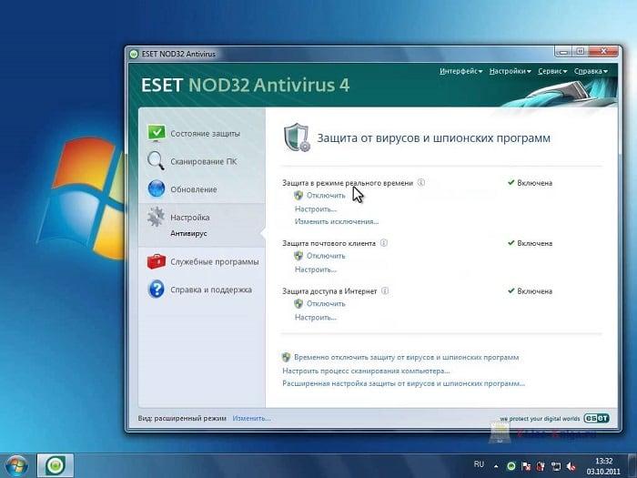 Окно ESET NOD32