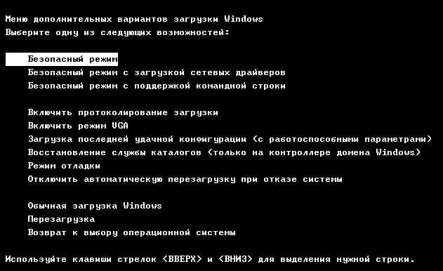 Меню вариантов загрузки Windows