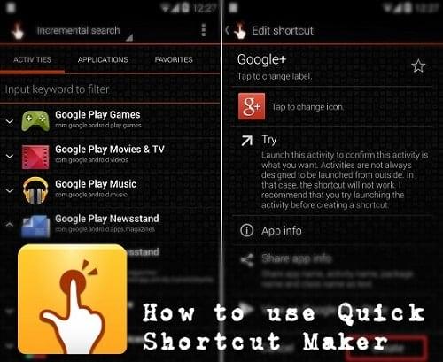 Запускаем Quickshortcutmaker на устройстве Android