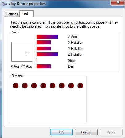 Экран тестинга контроллера