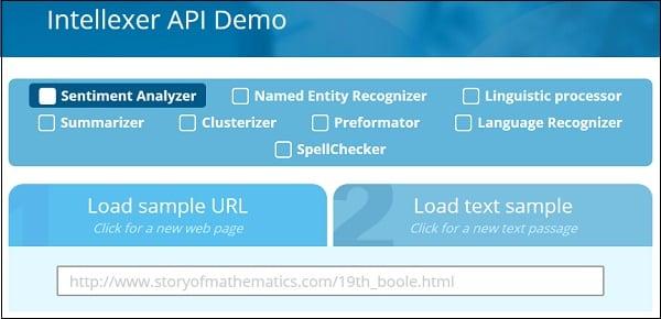 Рабочее окно Intellexer API View