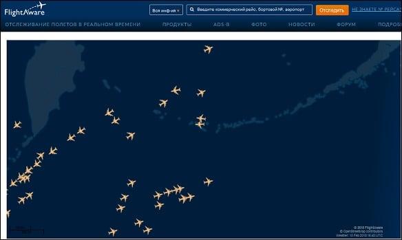 Карта полётов на сайте flightaware.com