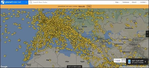 Отображение самолётных рейсов на planefinder.net