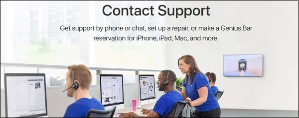 Экран поддержки Apple