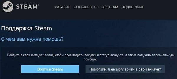 Окно техподдержки Steam