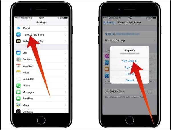 Скриншоты для просмотра Apple ID