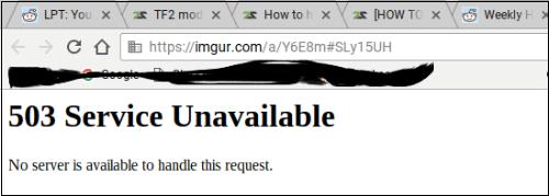 Одно из уведомлений ошибки 503 о недоступности сервера