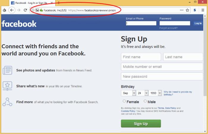 Социальная сеть Facebook в сети Tor