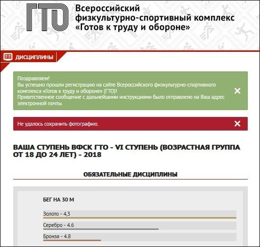 Уведомление о прохождении регистрации
