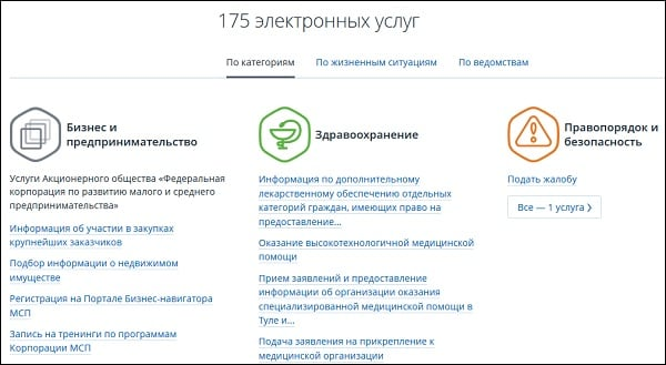 175 электронных услуг