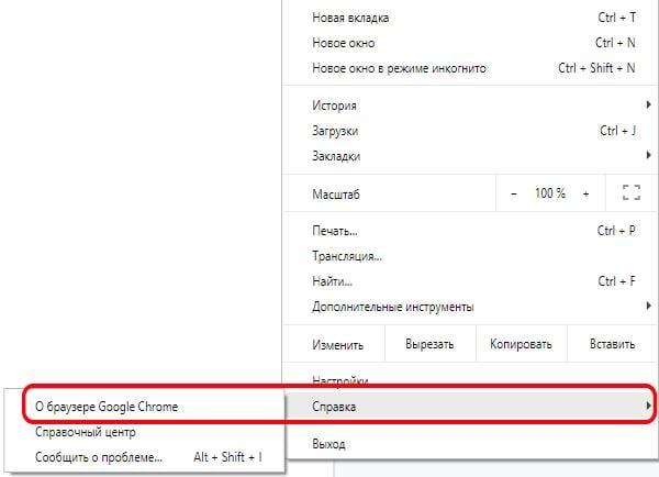 Пункт о браузере Chrome