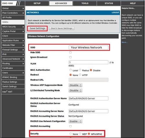 Настройка параметра SSID