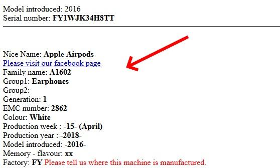 Данные об устройстве AirPods