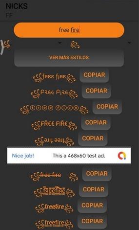 Приложение Name creator for Free Fire
