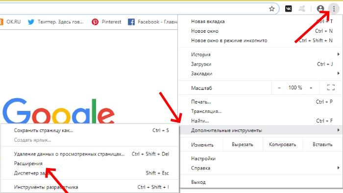 Расширения в браузере Google Chrome