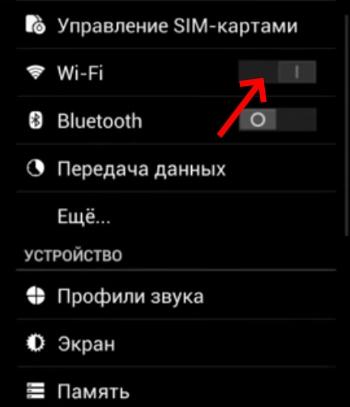 Активация технологии Wi-Fi