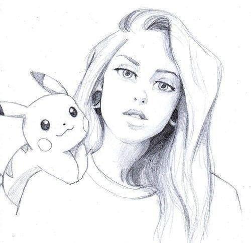 Рисунок девочки с покемоном